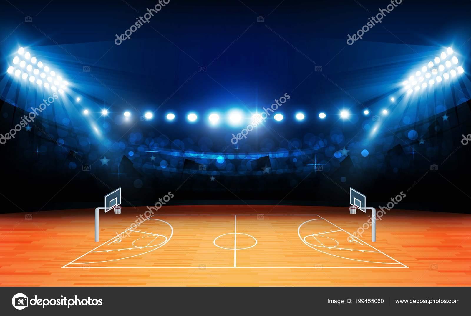 Campo basket arena con disegno luci luminose stadio illuminazione