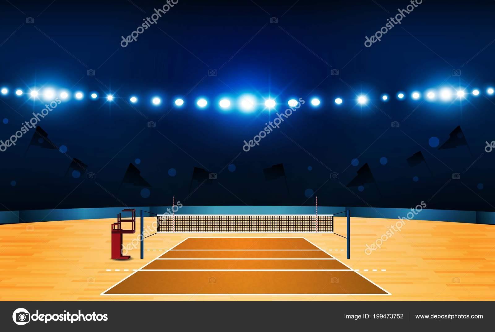 Campo pallavolo corte arena con disegno luci luminose stadio
