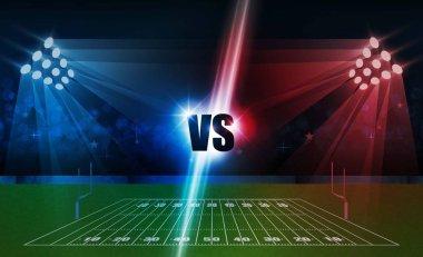 American football arena field with bright stadium lights design. Battle and match design. Vector illumination