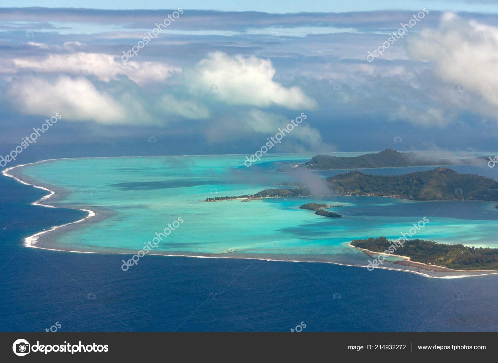 Bora Bora Island French Polynesia Aerial Airplane View