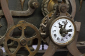 old ancient tower clock mechanism detail