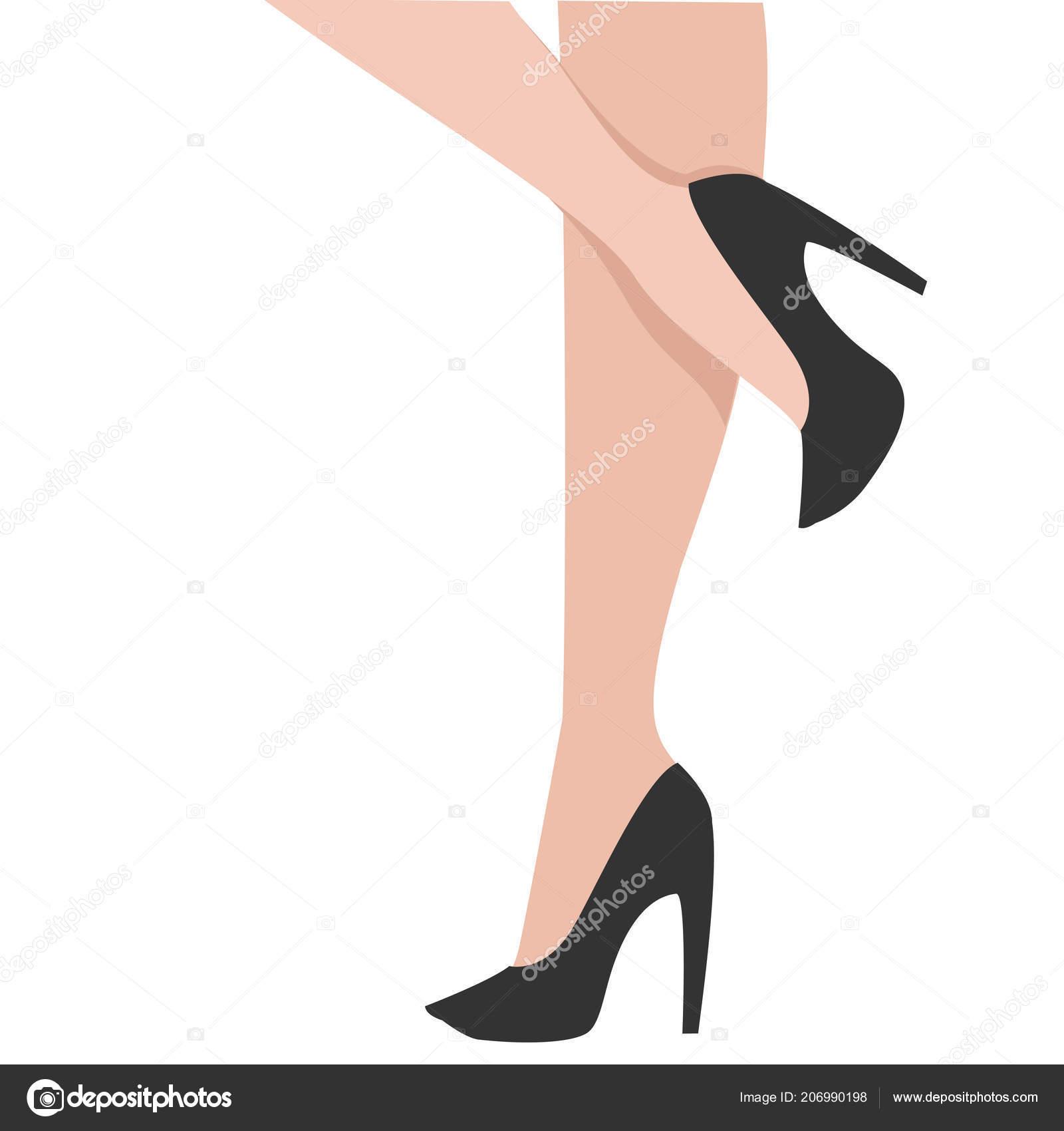 Frau Beine Schwarzen Schuhen Cartoon Vektor Illustration