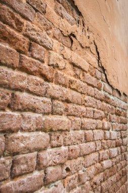 Vintage old orange brick wall