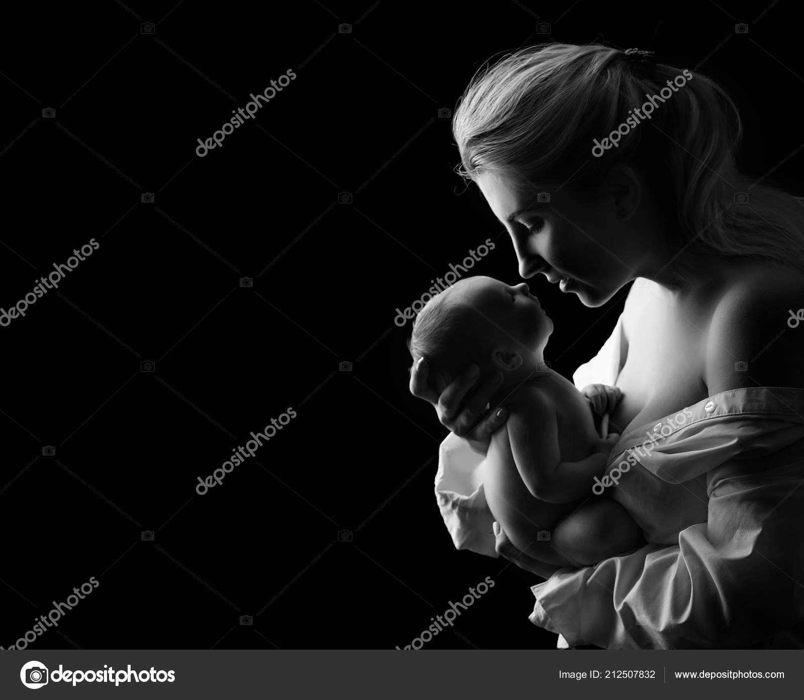 Black White Art Photo Beautiful Mother Holding Baby Boy Stock Photo C Larysa04dubynska 212507832