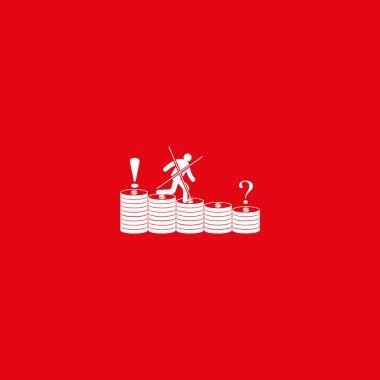 Man running along coins stacks icon