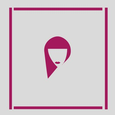 minimalistic vector icon of female head with long hairstyle