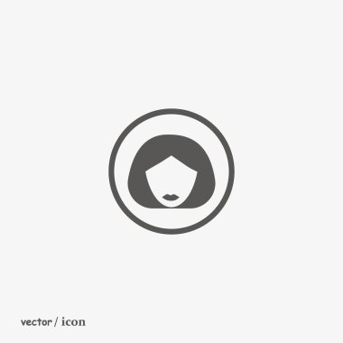 minimalistic vector icon of female head with short hairstyle