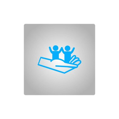 hand holding kids, motherhood concept vector icon