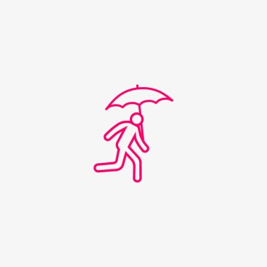 vector illustration icon of running man with umbrella