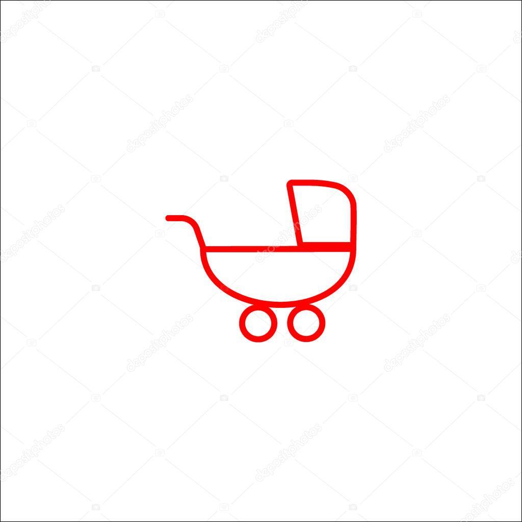 pram flat style icon, vector illustration