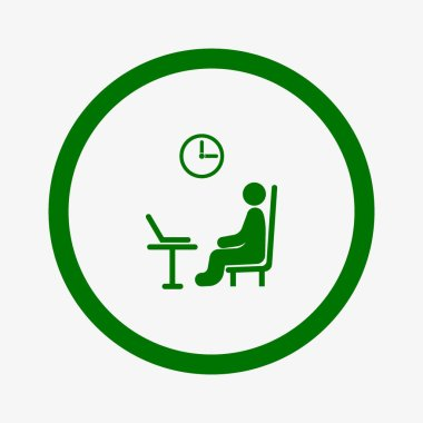 male avatar with laptop at workplace flat icon, vector, illustration