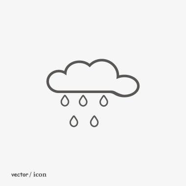 rain cloud flat icon, vector, illustration
