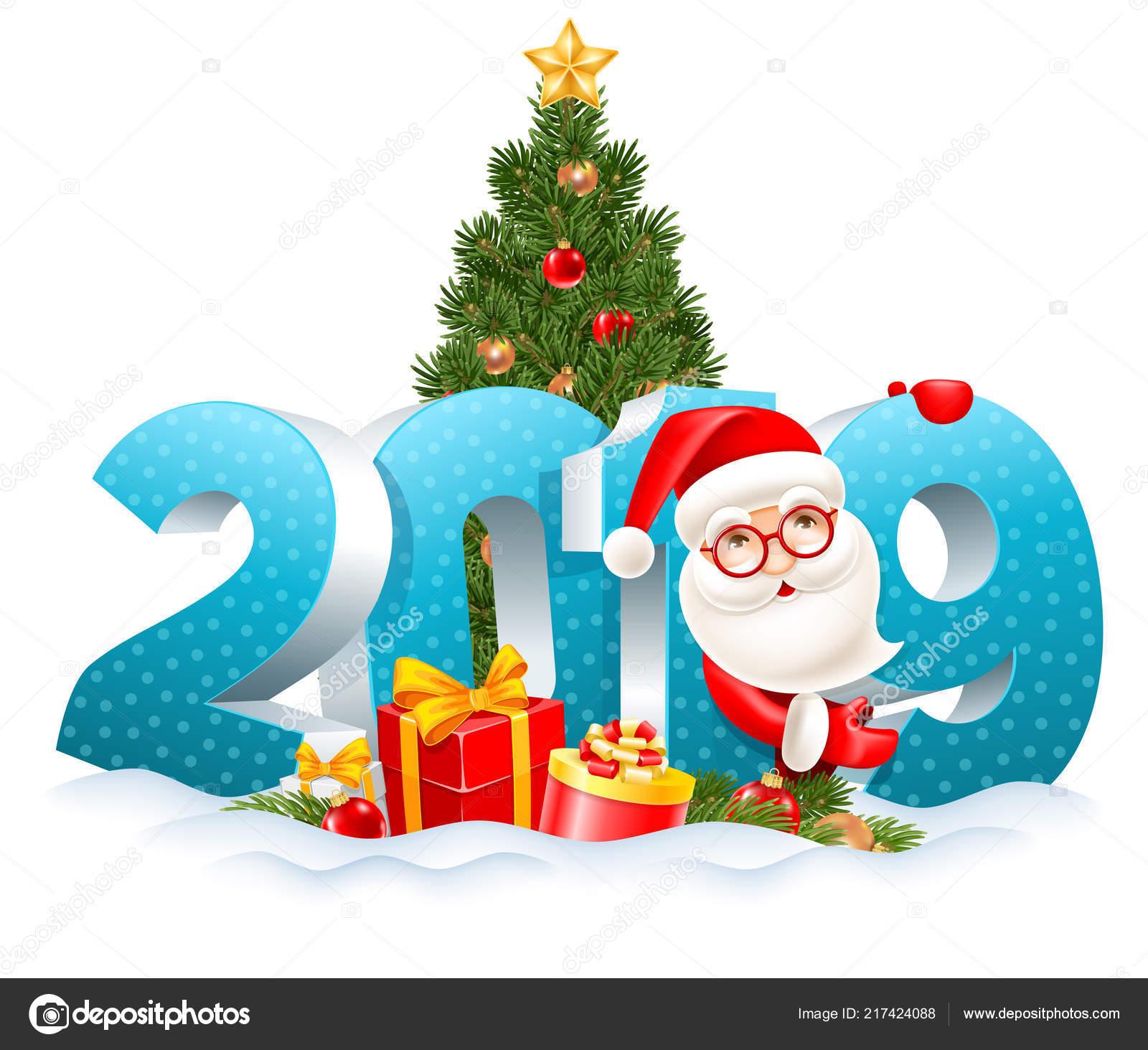 Weihnachten 2019 Schnee.Volumetrische Ziffern 2019 Schnee Dekoriert Weihnachtsbaum Geschenke