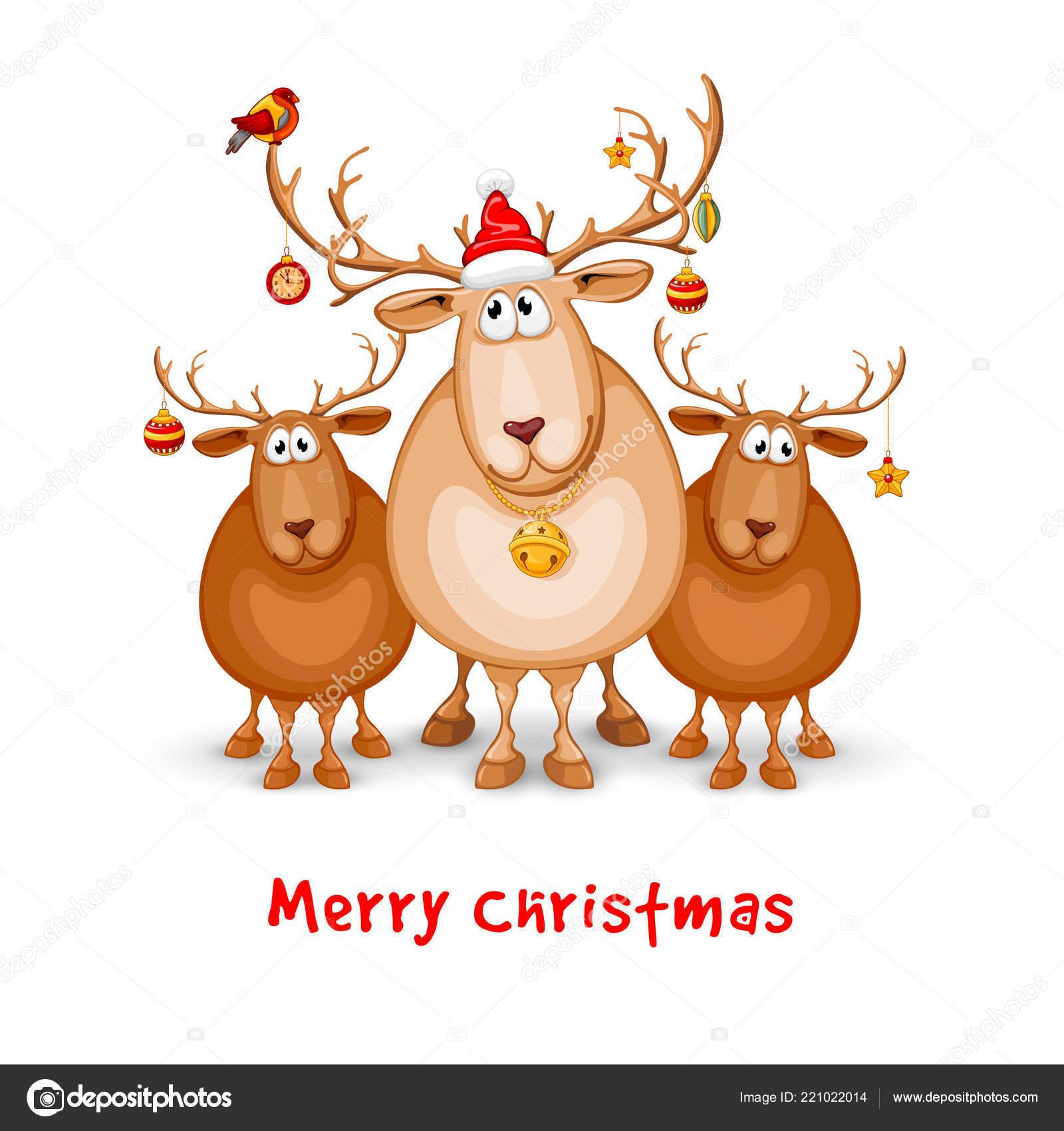 merry christmas happy new year greeting design cartoon funny reindeers stock vector