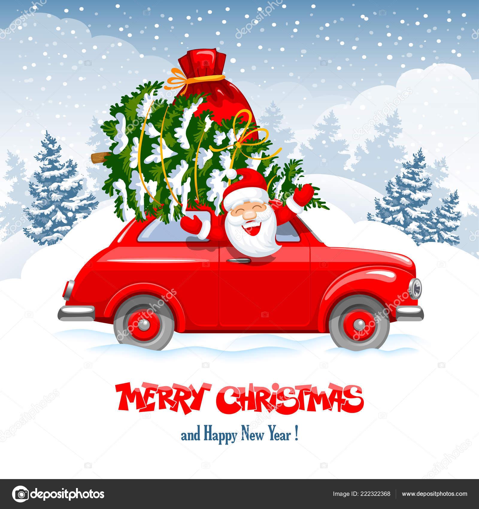 Merry Christmas Happy New Year Greeting Cute Cheerful Santa Claus ...