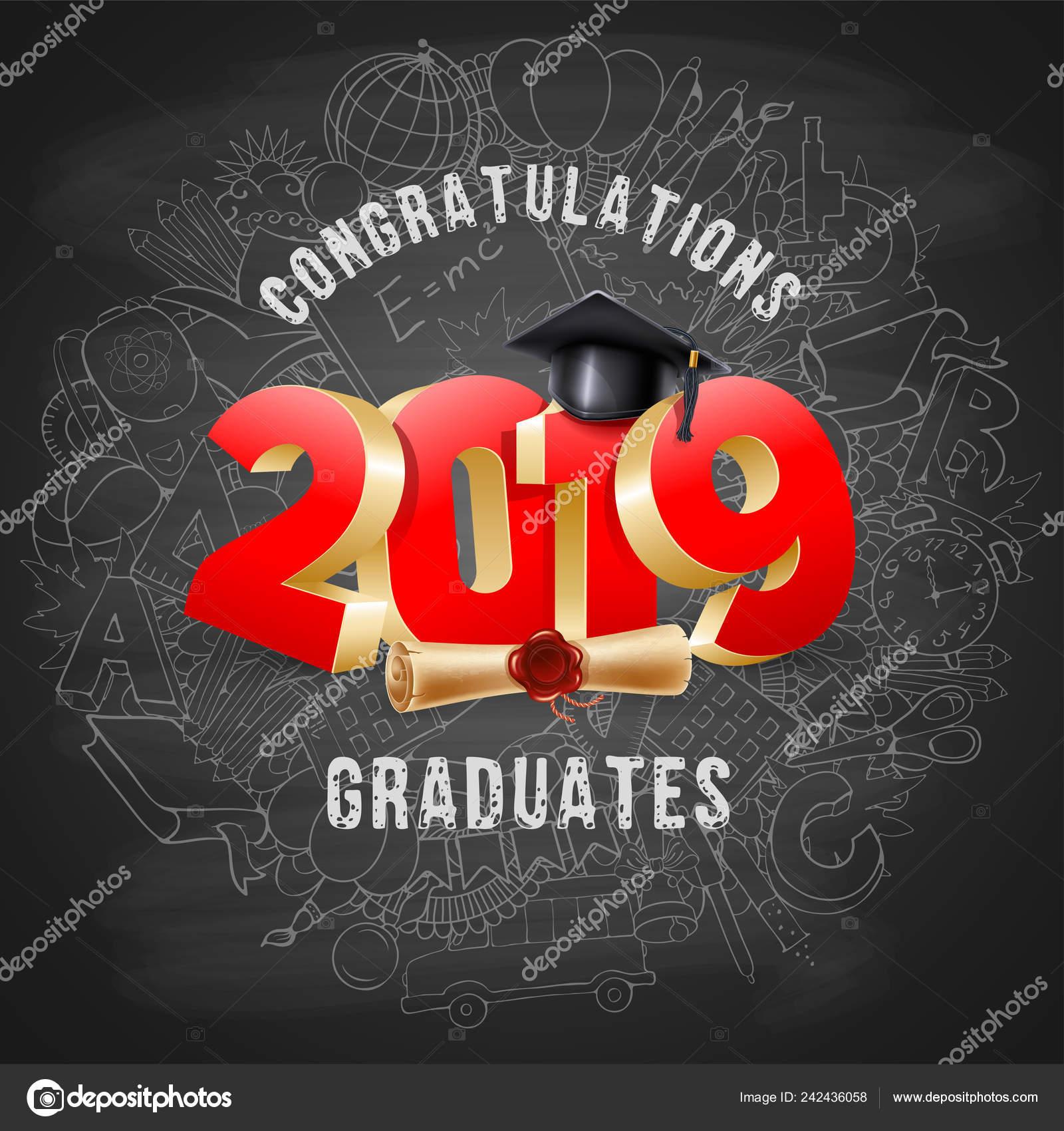 congratulations graduates class 2019 chalkboard background