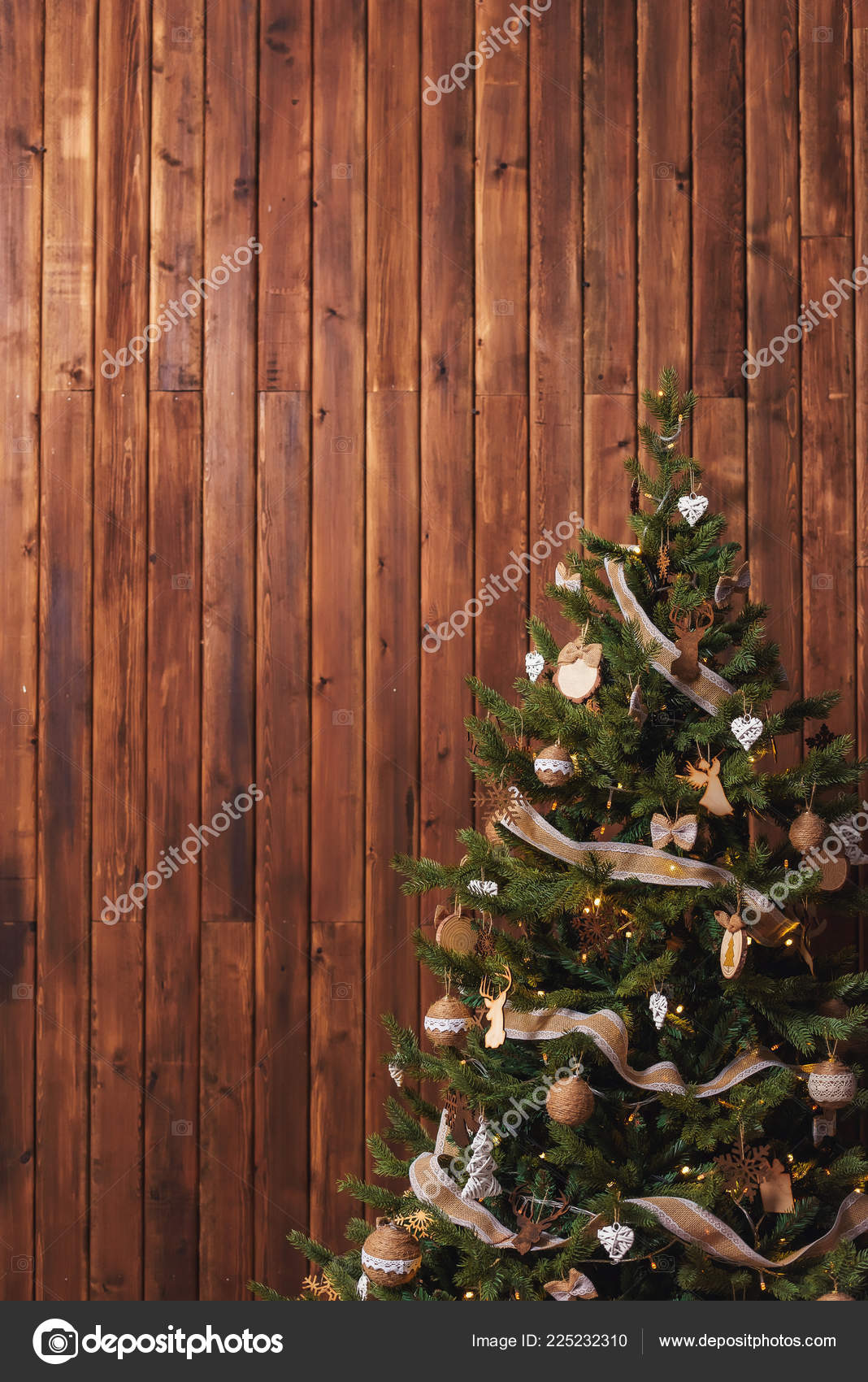 Rustic Christmas Tree Wooden Background