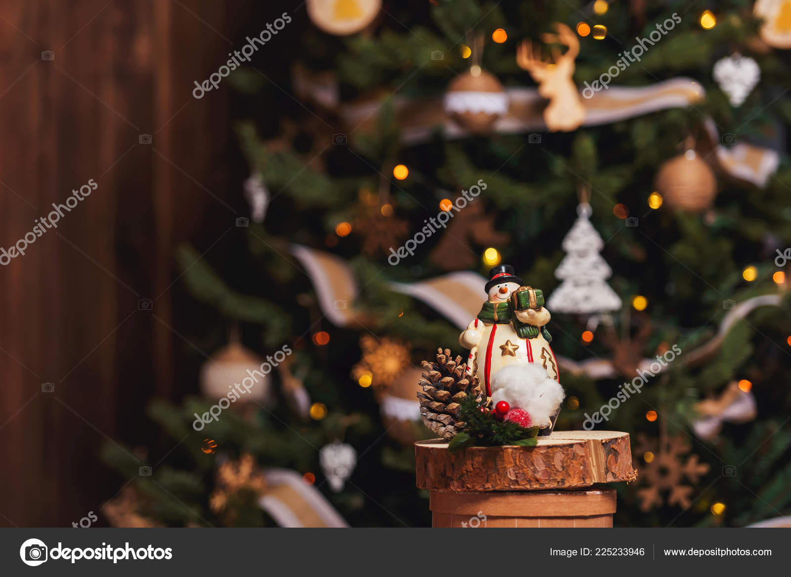 Snowman Background Christmas Tree Rustic Christmas Decorations