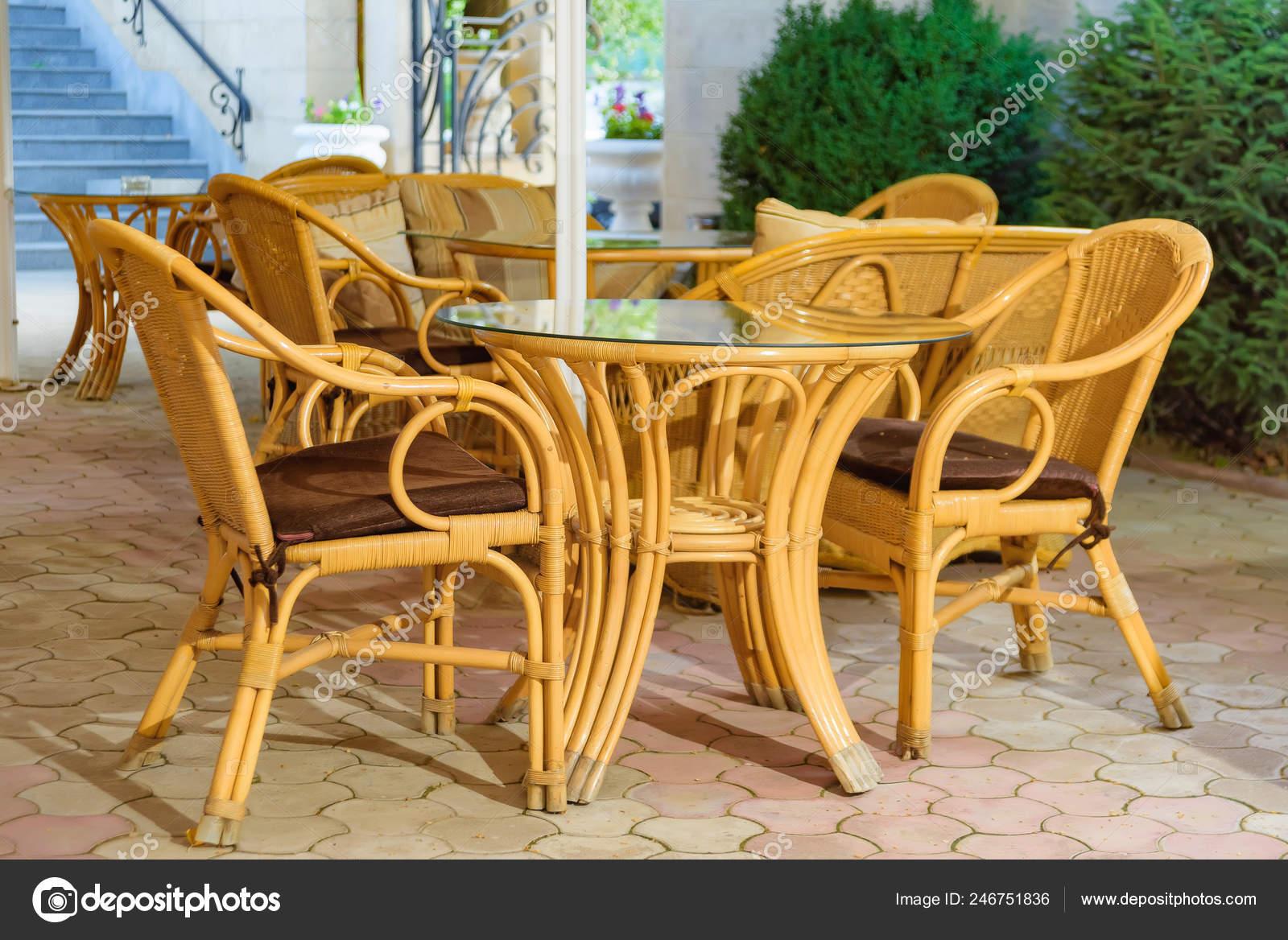 Wicker Furniture Summer Terrace Restaurant Decor Texture