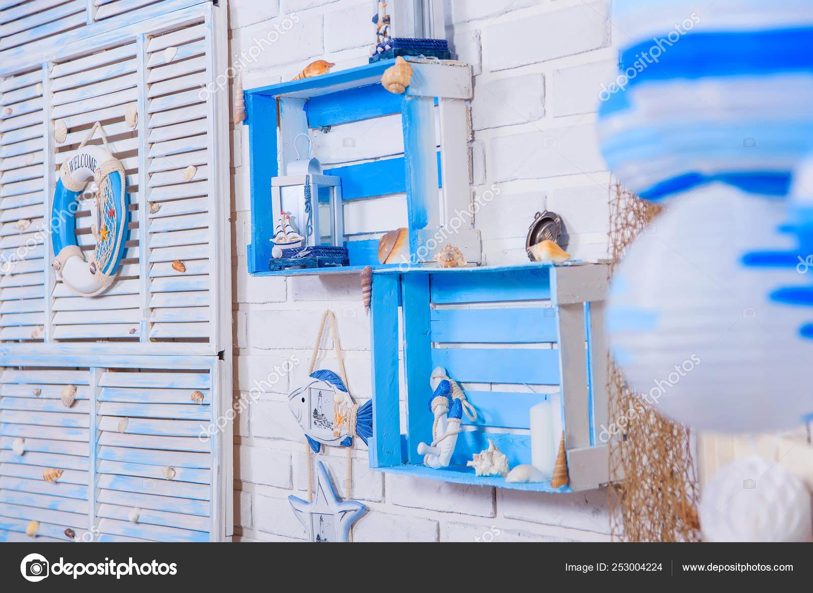 White Brick Wall Interior Room Decor Marine Style Shelves