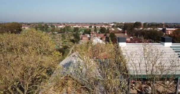 Luftaufnahme einer Baustelle einer Schule in East london, Großbritannien