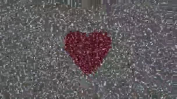 Nincs jel, televíziós, statikus zaj és akvarell festett szív