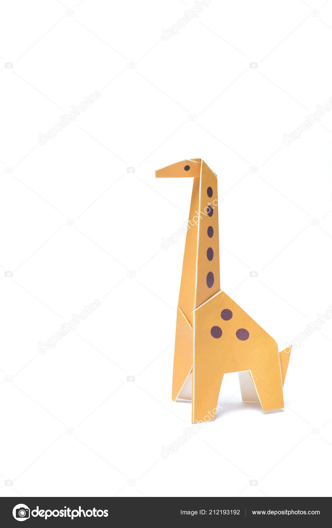 One Isolated Origami Giraffe Stands White Background Stock Photo