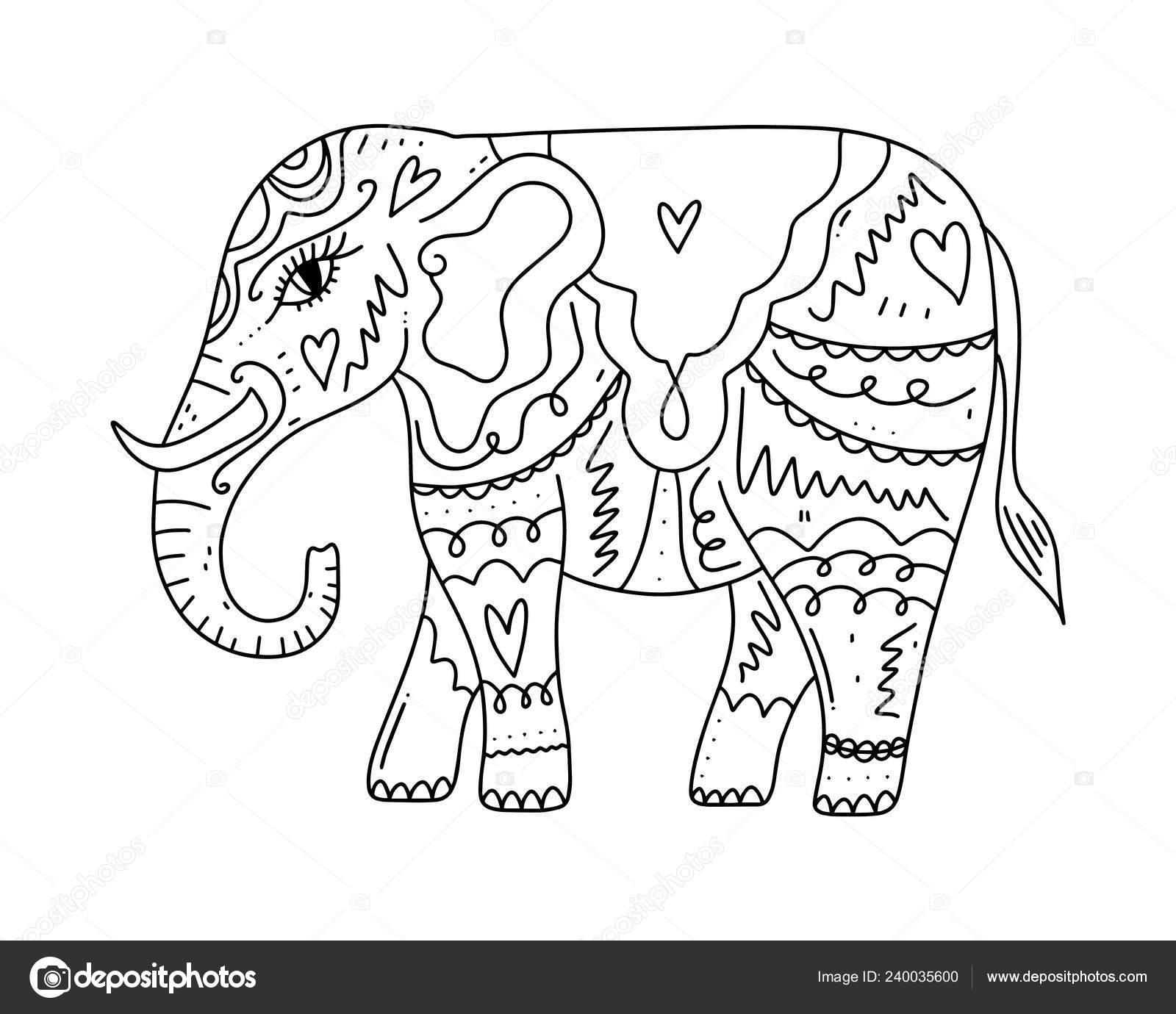 Kleurplaten Over Olifanten.Hand Getekende Boho Tribal Stijl Olifant Kleurplaat Boek