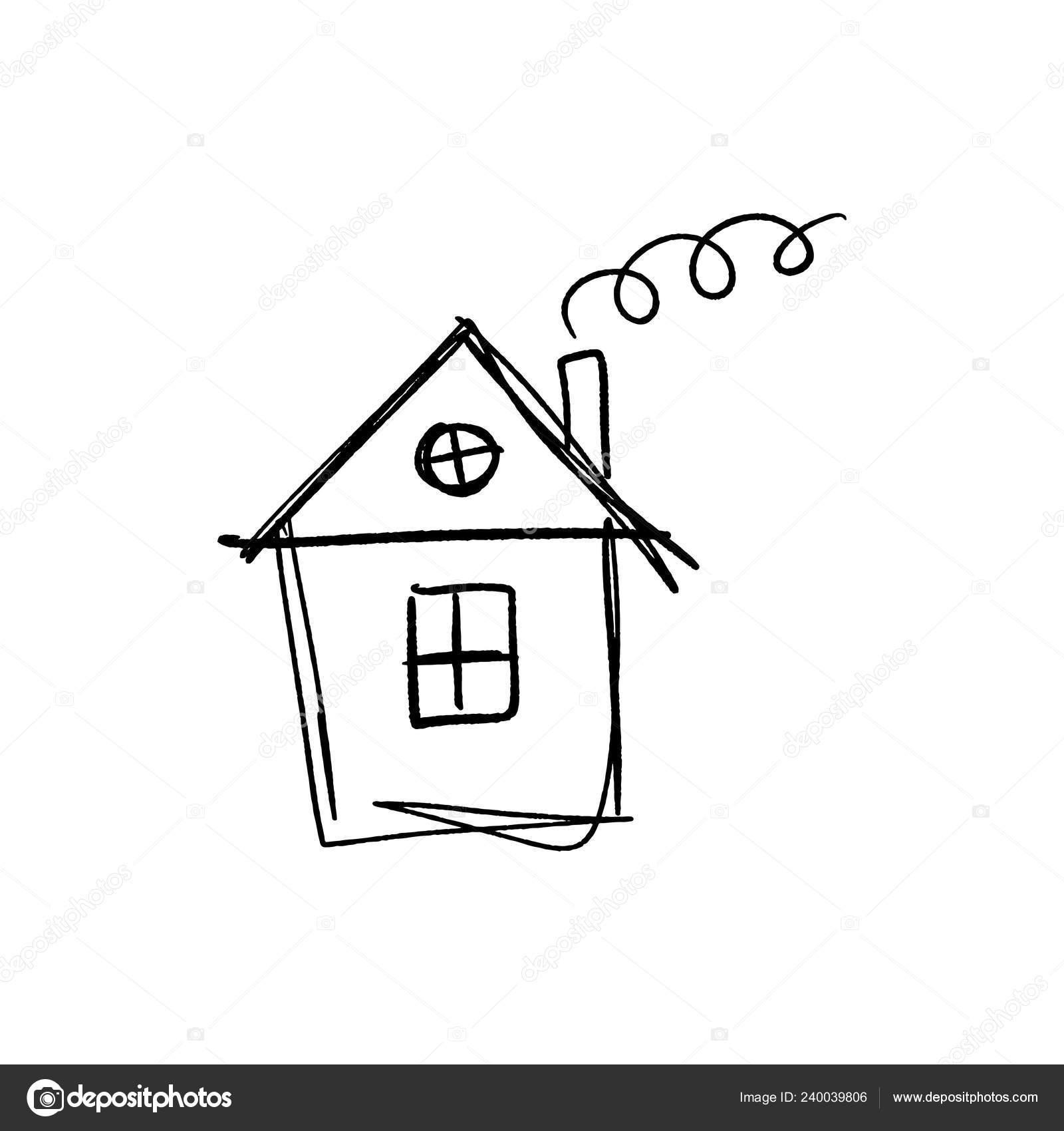 Simple Croquis Petite Maison Style Doodle Dessin Enfant