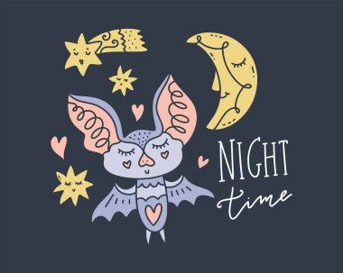 Pretty little girl bat, moon and stars. Cute night time collection. Hand drawn set of different elements. Lettering phrase. Vector illustrations.