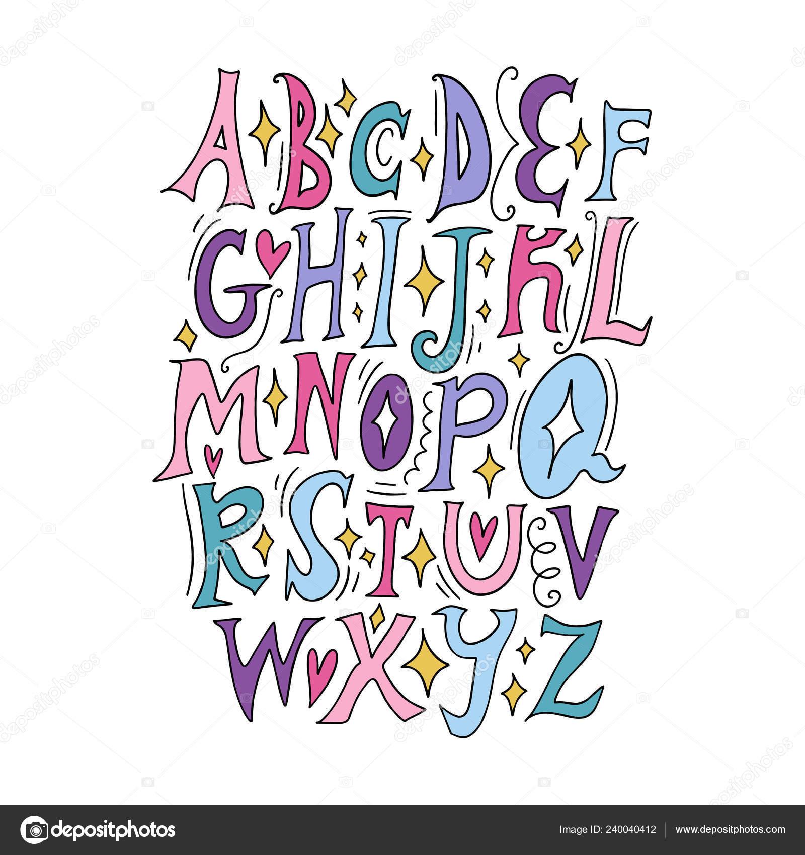 Vector Fairy Tale Children Alphabet Lettering Initial Letters