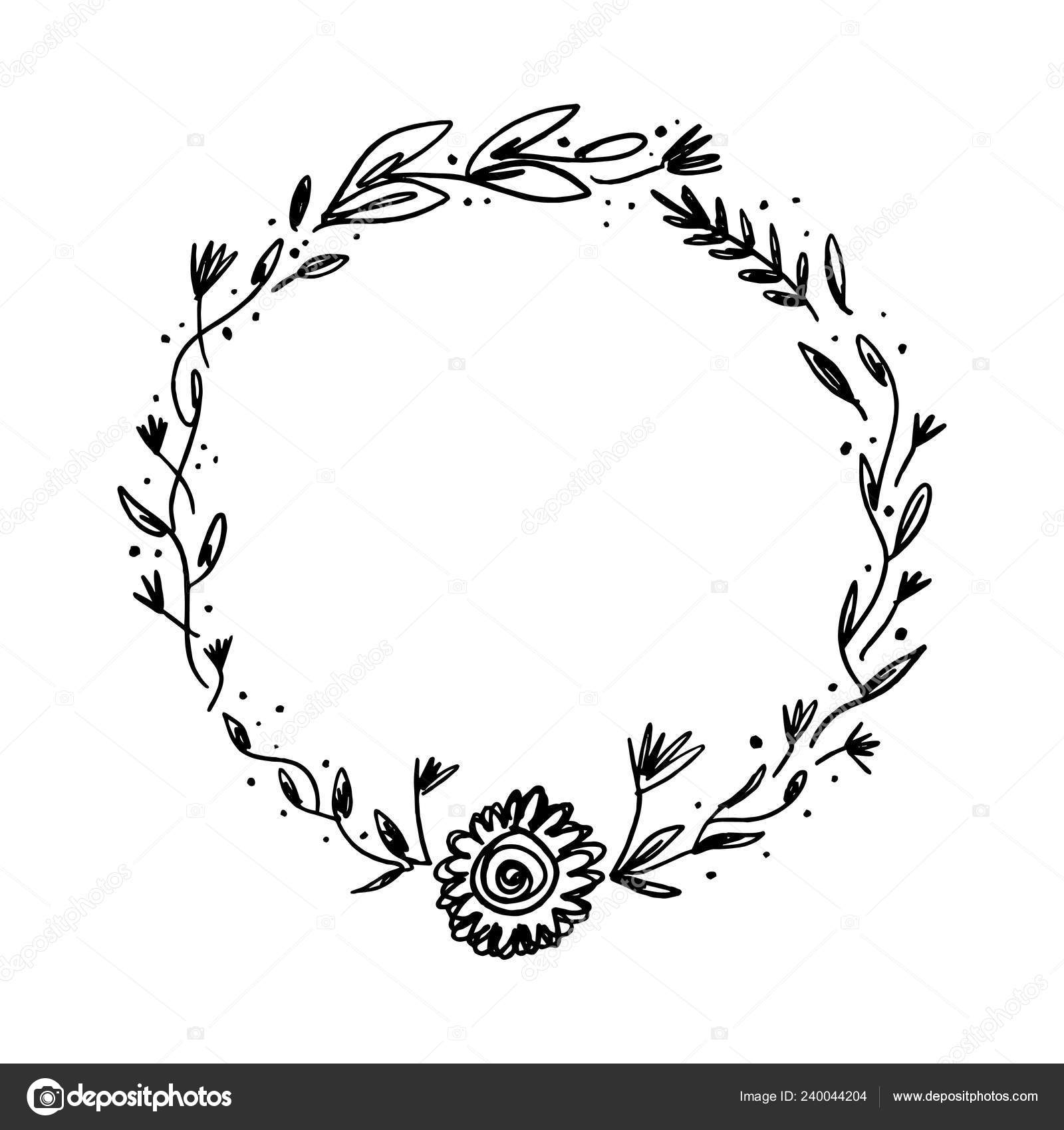 Vector Image Clipart Editable Details Floral Ink Frame Text