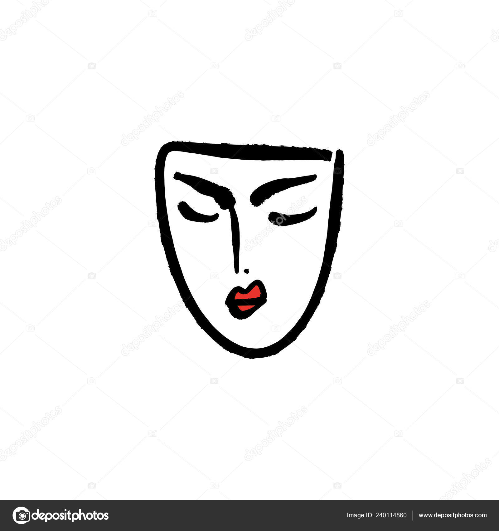 Line Art Woman Red Lips Face Portrait Print Clothes Textile