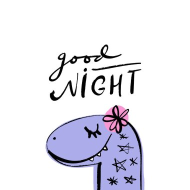 Children's handwriting. Funny doodle cute girl diplodocus dinosaur head. Good night text. Baby stylish art, nursery wallpaper