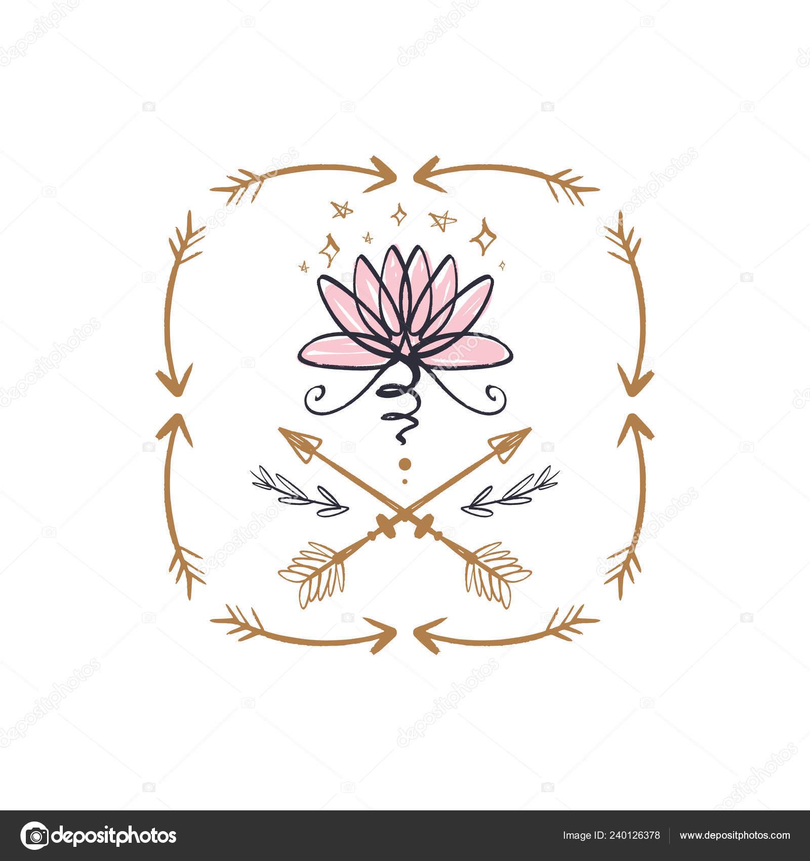 Boho Art Lotus Flower Line Art Frame Harmony Universe Symbol Stock