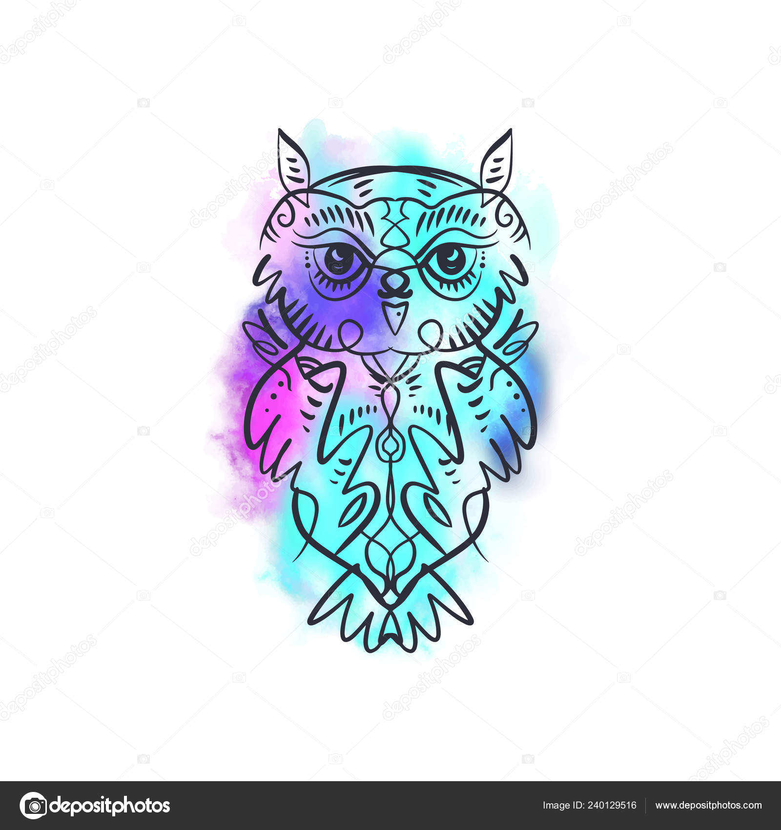 Watercolor Owl Tattoo Watercolor Owl Tattoo Boho Tribal