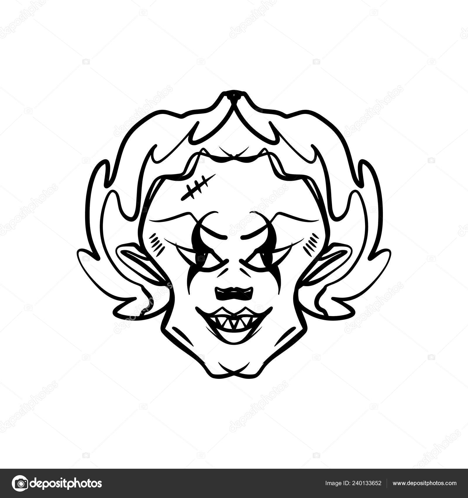 Evil Horrible Clown Art Halloween Mask Illustration Clipart