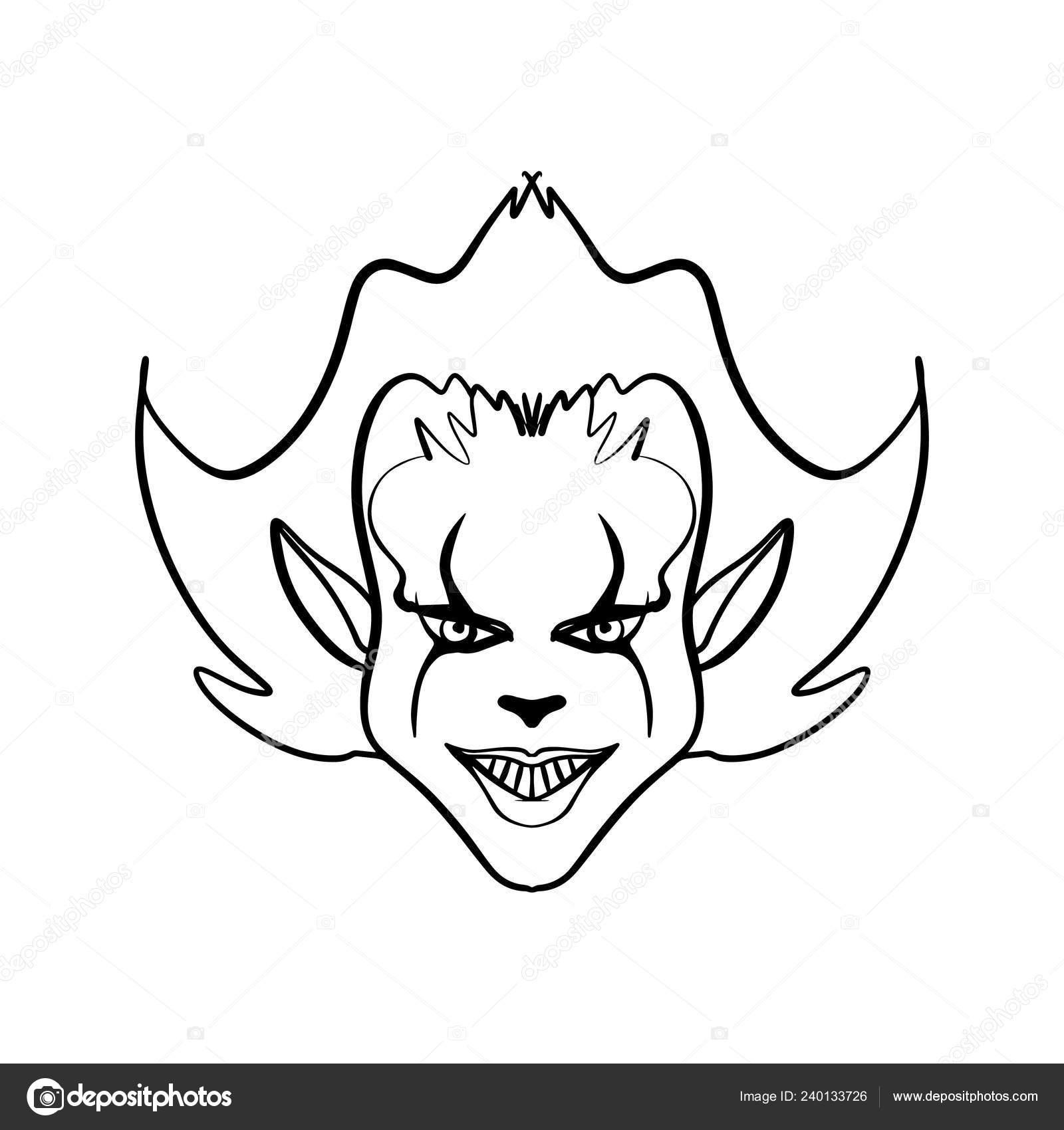 Maschere Di Halloween Da Colorare.Arte Del Clown Malvagio Orribile Illustrazione Maschera Halloween