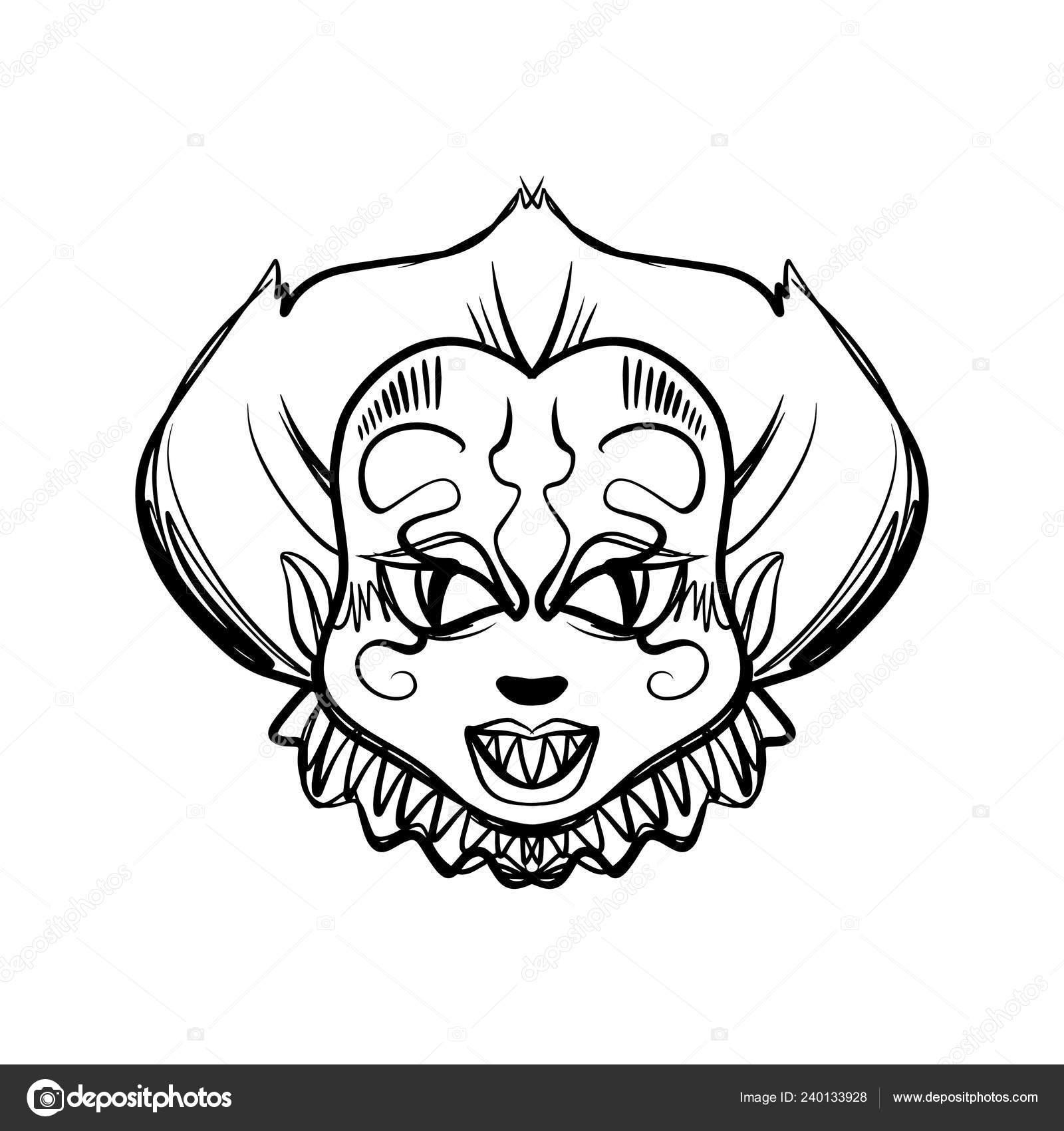 Arte Palhaco Horrivel Mal Ilustracao Mascara Halloween Clipart