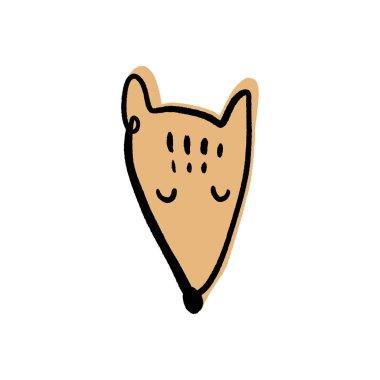 Vector cute fox face doodle scandinavian nursery art