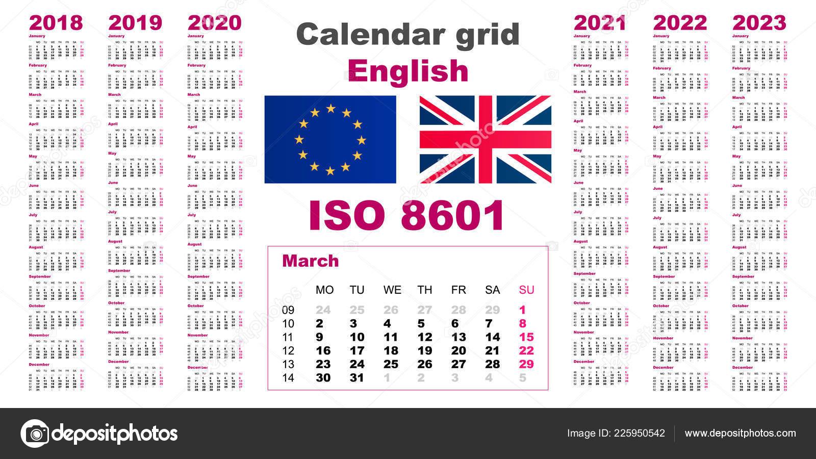 Calendario 2020 Con Le Settimane.Parete Di Griglia Set Calendario Inglese Per Il 2018 2019