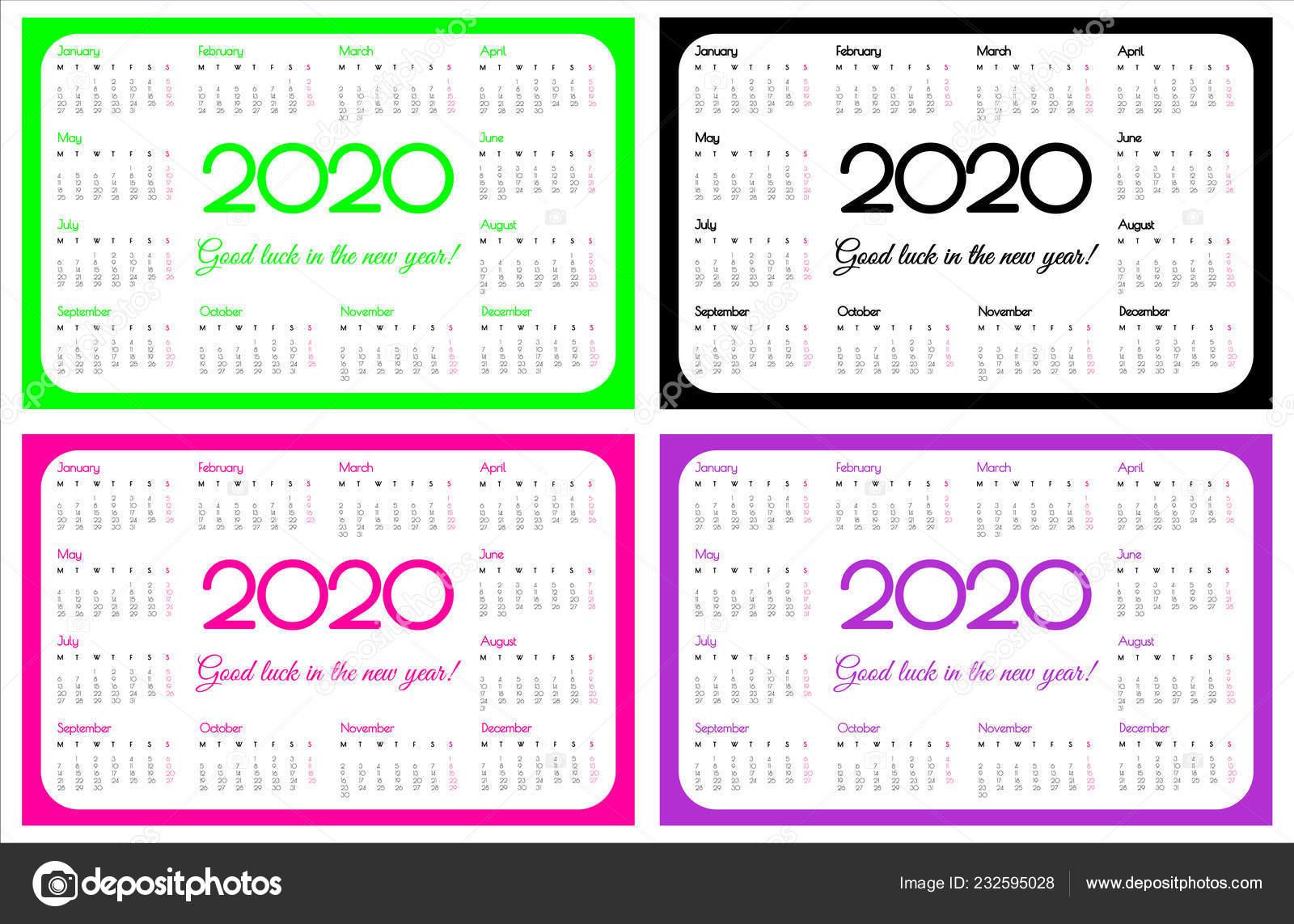 Calendario Rosa 2020.Calendario Bolso Ano 2020 Conjunto Quatro Cores Ufo Verde