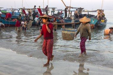 Bringing the nights catch ashore - Ngapali Beach - Myanmar