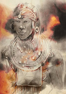 Portrait of an African, Man. An hand painted illustration.