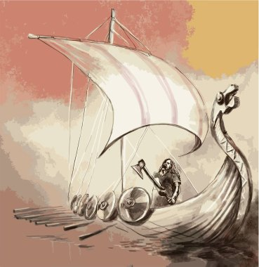 Viking Age. Drekar ship and Warrior with the Axe standing on boat with dragon head. An hand painted vector.