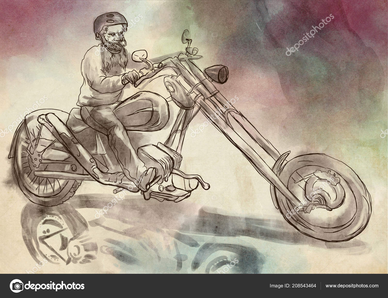 Biker Bearded Man His Motorcycle Hand Drawn Illustration