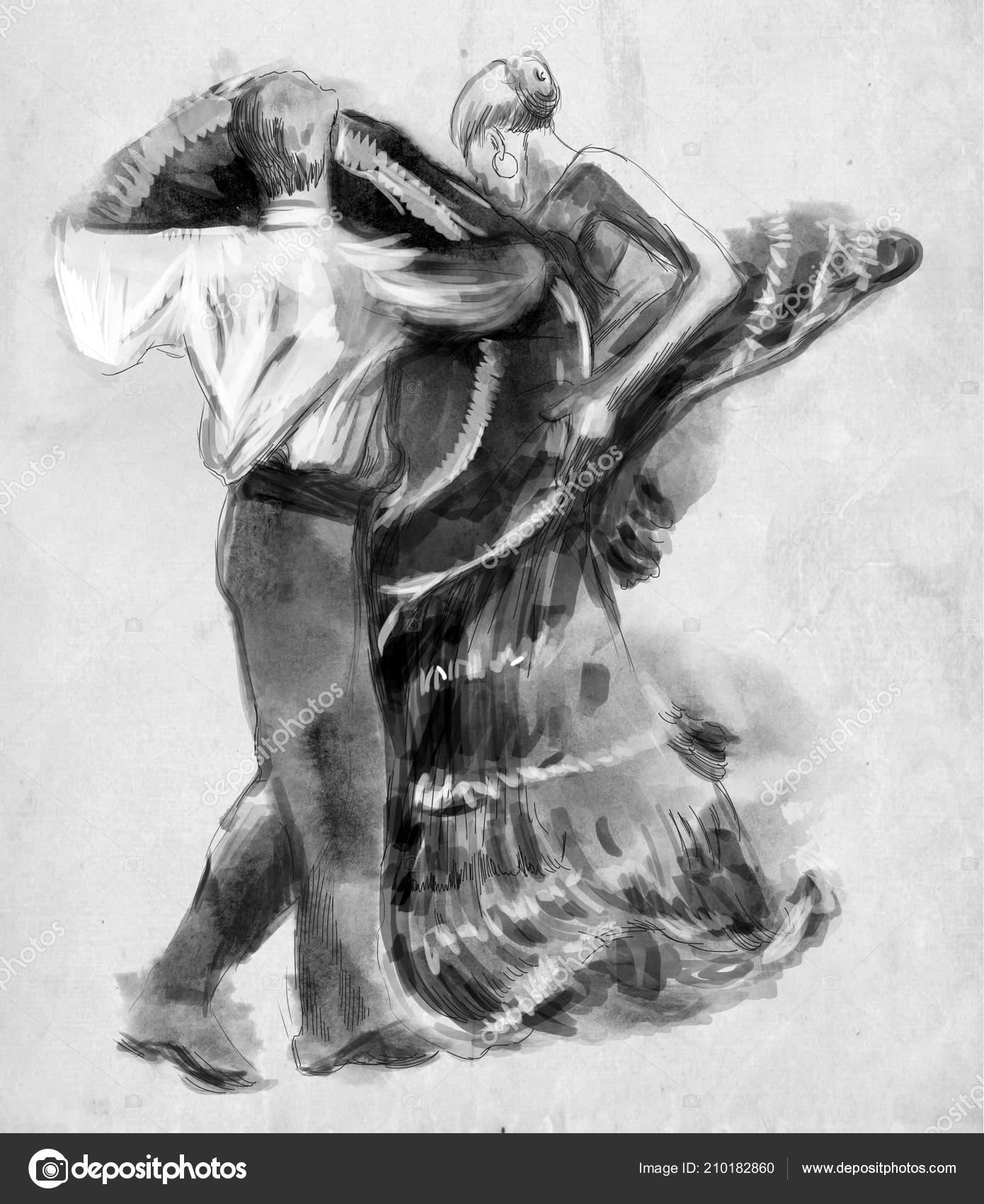 Spanish Dancers Hand Drawn Illustration Freehand Sketching