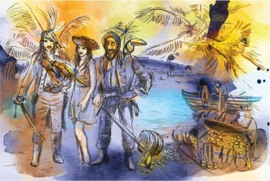 Pirates. An hand drawn illustration. Freehand drawing, painting. Vector