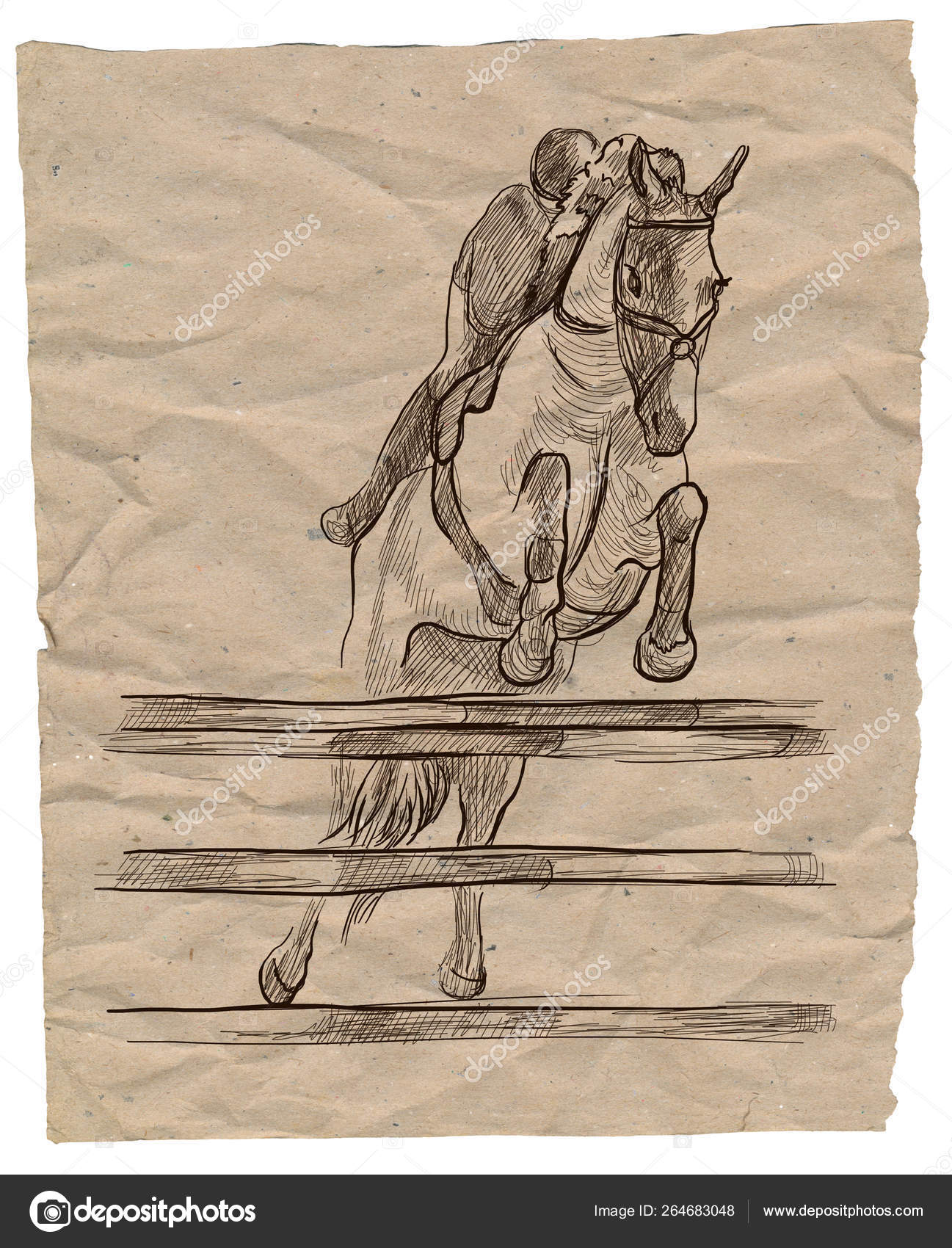 Show Jumping Hand Drawn Illustration Line Art Technique Stock Photo C Kuco 264683048