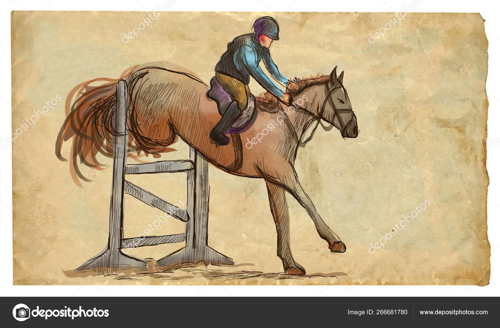 Show Jumping Hand Drawn Colored Illustration Line Art Techniqu Stock Photo C Kuco 266681780